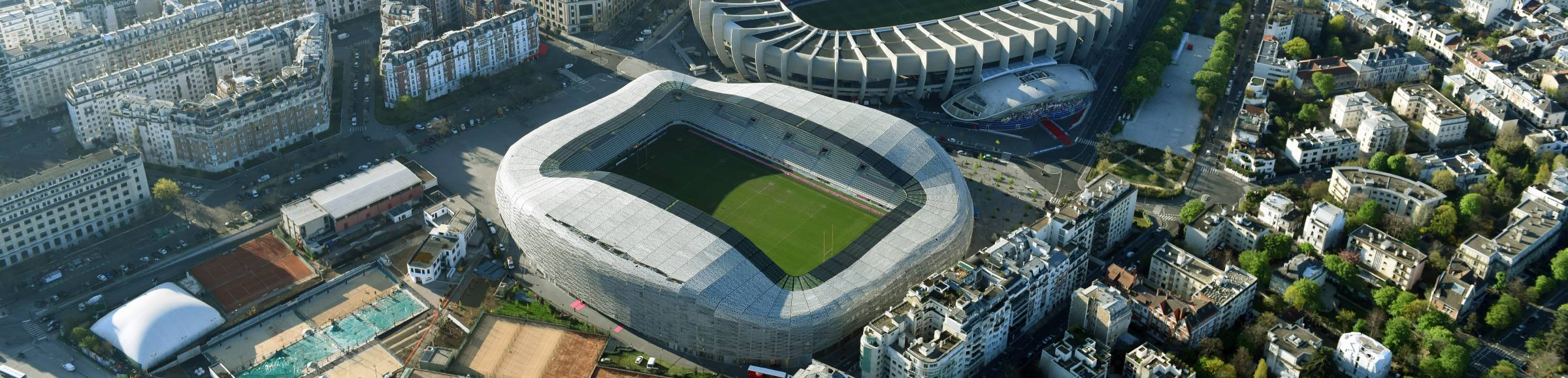 Sports facility grounds of the Arena stadium Stade Jean Bouin on Avenue du General Sarrail in Paris in Ile-de-France, France